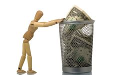 Free Manikin Pushing Mesh Trash Bin With Dollar Stock Photos - 5198273