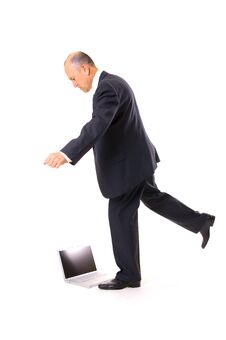Free Businessman Kicking His Laptop Royalty Free Stock Photo - 5199195