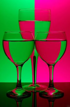 Free Three Glasses On Neon Background Royalty Free Stock Photos - 521848