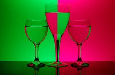Free Three Glasses On Neon Background Royalty Free Stock Images - 521849