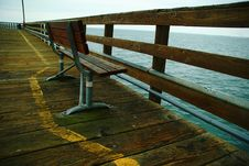 Free Bench On Wharf Looking Out To Sea. Stock Photo - 527020