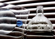 Still Life With Blue Glass Ball Stock Photos