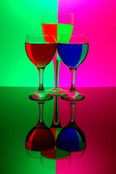 Free Three Glasses On Neon Background Stock Image - 529371