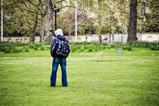Unrecognizable Man In The Park Royalty Free Stock Images