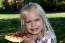 Free Sweet Little Girl Eating Pizza Slice Stock Images - 5201434