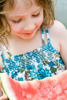 Free Pretty Girl Enjoys A Tasty Slice Of Watermelon Stock Photos - 5202523