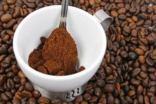Free Spoon With Coffee In White Cup Royalty Free Stock Photos - 5203038