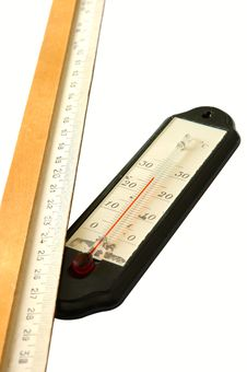Old Alcohol Thermometer And Old Wooden Ruler. Royalty Free Stock Images
