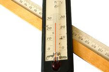 Old Alcohol Thermometer And Old Wooden Ruler. Stock Photos