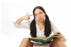 Free Student Girl With Book Royalty Free Stock Images - 5205209