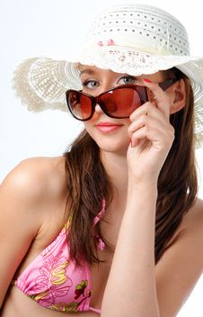 Woman In Sunglasses In Hat Stock Image