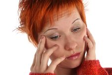 Free Sad Red Haired Woman Royalty Free Stock Photos - 5205568
