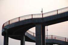 The Curving Footbridge Railing Stock Images