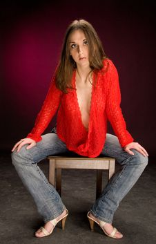 Free Girl Sit On Stool Royalty Free Stock Photography - 5206687
