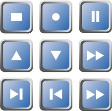 Free Set Of Nine Blue Multimedia Buttons; Isolated Royalty Free Stock Photo - 5207705