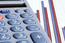 Free Calculator And Bar Chart Royalty Free Stock Photography - 5208057
