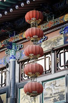 Red Lantern In The Ancient City. Royalty Free Stock Images