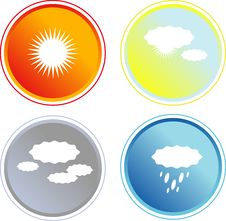 Free Set Of Four Colorful Weather Icoms Stock Photo - 5208540