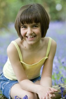 Free Girl Sitting In Bluebells Stock Images - 5208614