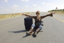 Free Hitchhiking Woman Stock Photos - 5209023