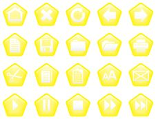 Pentagon Shaped Glassy Buttons Yellow Stock Images