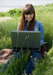 Free Girl With Laptop Stock Image - 5209361
