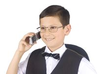 Free Young Businessman Talking To Mobile Phone Stock Image - 5209591