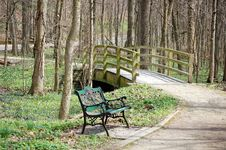 Free Park Bench By Bridge Royalty Free Stock Photography - 5209867