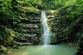 Free Waterfall Bathe. Berendeevo Kingdom, Lazarevskoye, Russia. Stock Image - 52081831