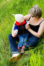 Free Playing With Grandmother Royalty Free Stock Photo - 5210115