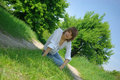 Free Young Attractive Woman Sitting In A Path Stock Images - 5213234