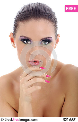 Close-up portrait of beautiful woman with professi Stock Photo