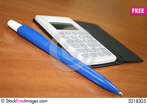 Free Blue Pen And Calculator Royalty Free Stock Photo - 5218305