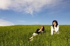 Free Couple Of Friends In Meadow Stock Image - 5210231