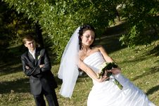 Free Newly-married Couple In The Park Stock Photo - 5210340