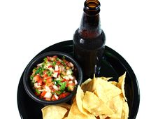 Free Ice Cold Beer And Salsa Royalty Free Stock Images - 5211669