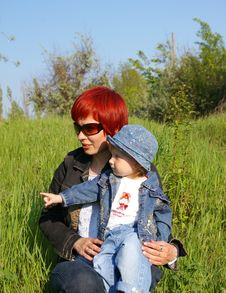 Free Girl And Her Mum On A Grass Stock Photos - 5212323