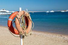 Free Life Preserver On Beach Stock Photo - 5212390