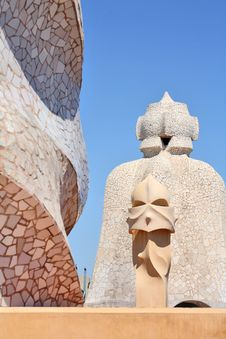 Free Abstract Sculptures On The Roof La Pedrera Royalty Free Stock Image - 5212446