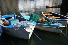 Old Cog Fishing Boats White And Blue Royalty Free Stock Photo