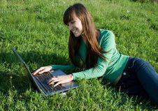Free Girl With Laptop Stock Images - 5212874