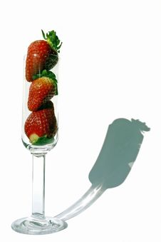 Free Strawberries Inside Of A Flute Glass Royalty Free Stock Image - 5212956