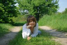 Free Young Attractive Woman Sitting In A Path Stock Photo - 5213230