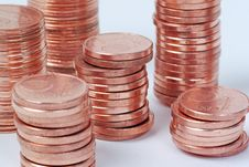 Free Stacks Of One Cent Euro Coins Royalty Free Stock Photo - 5213325