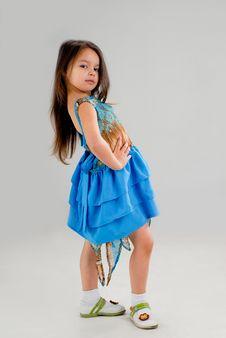 Free Little Girl In Blue Dress Stock Image - 5213831