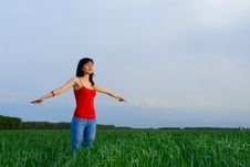 Free Young Woman In A Wheat Field Stock Images - 5213884