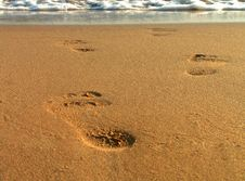 Free Footsteps On Beach Royalty Free Stock Images - 5214629