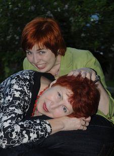 Senior Woman And Her Daughter Stock Photo