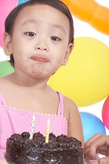 Free Birthday Girl Holding Cake Royalty Free Stock Images - 5215639
