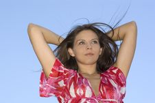 Free Attractive Brunette Woman On Sky Background Stock Photo - 5216390